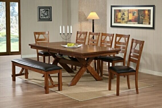 8 Pc Walnut Finish Picnic Style Dining Table Set With Upholstered