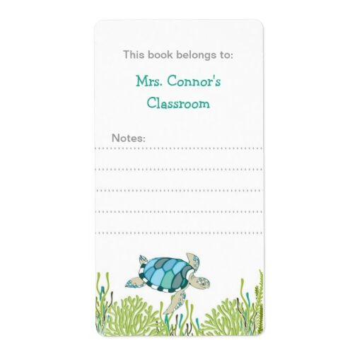 Realistic Sea Turtle Bookplates / gender neutral Shipping Label