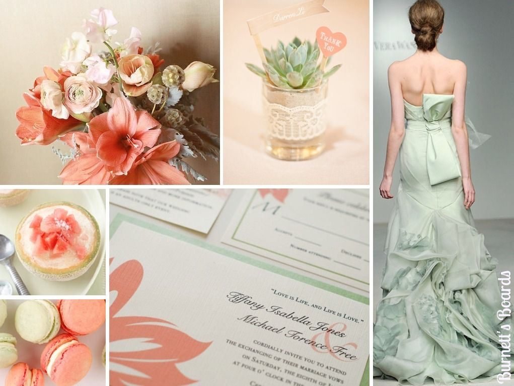 Sage And Coral (+ What Your Wedding Dress Color Means)