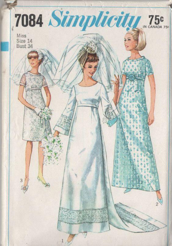 1960s Wedding Dress Simplicity 7084 Empire Waist by sandritocat ...