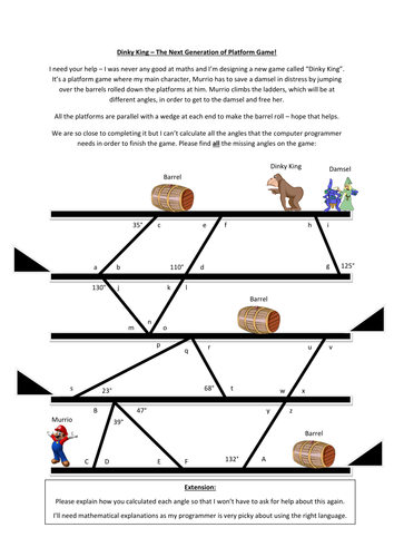 Dinky King - Parallel Lines Questions.docx | Algebra | Pinterest ...