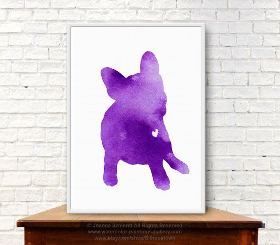 Frenchie Watercolor Print French Bulldog Purple Home Decor Dog Silhouette Poster