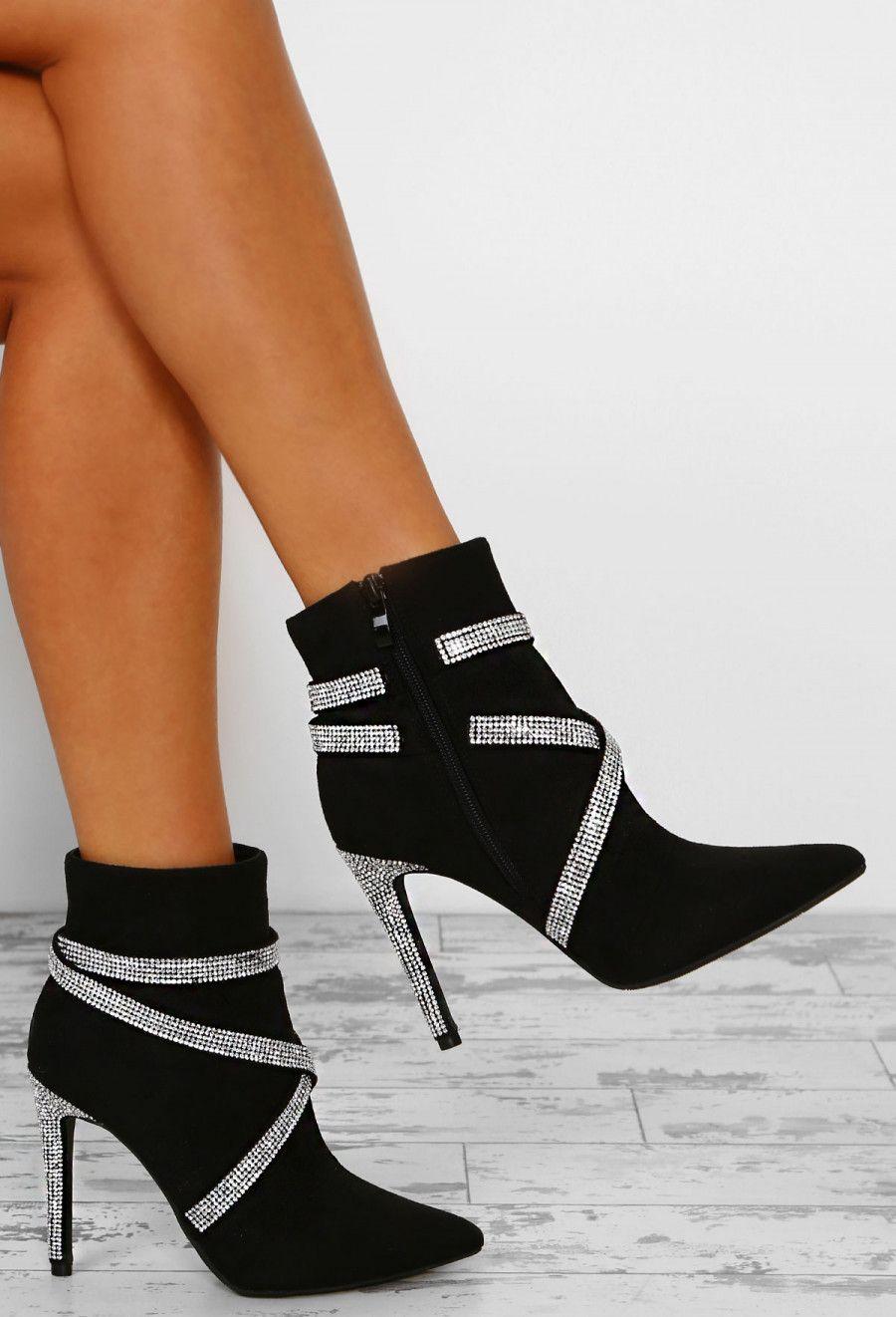 So Soho Black Diamante Embellished Heel