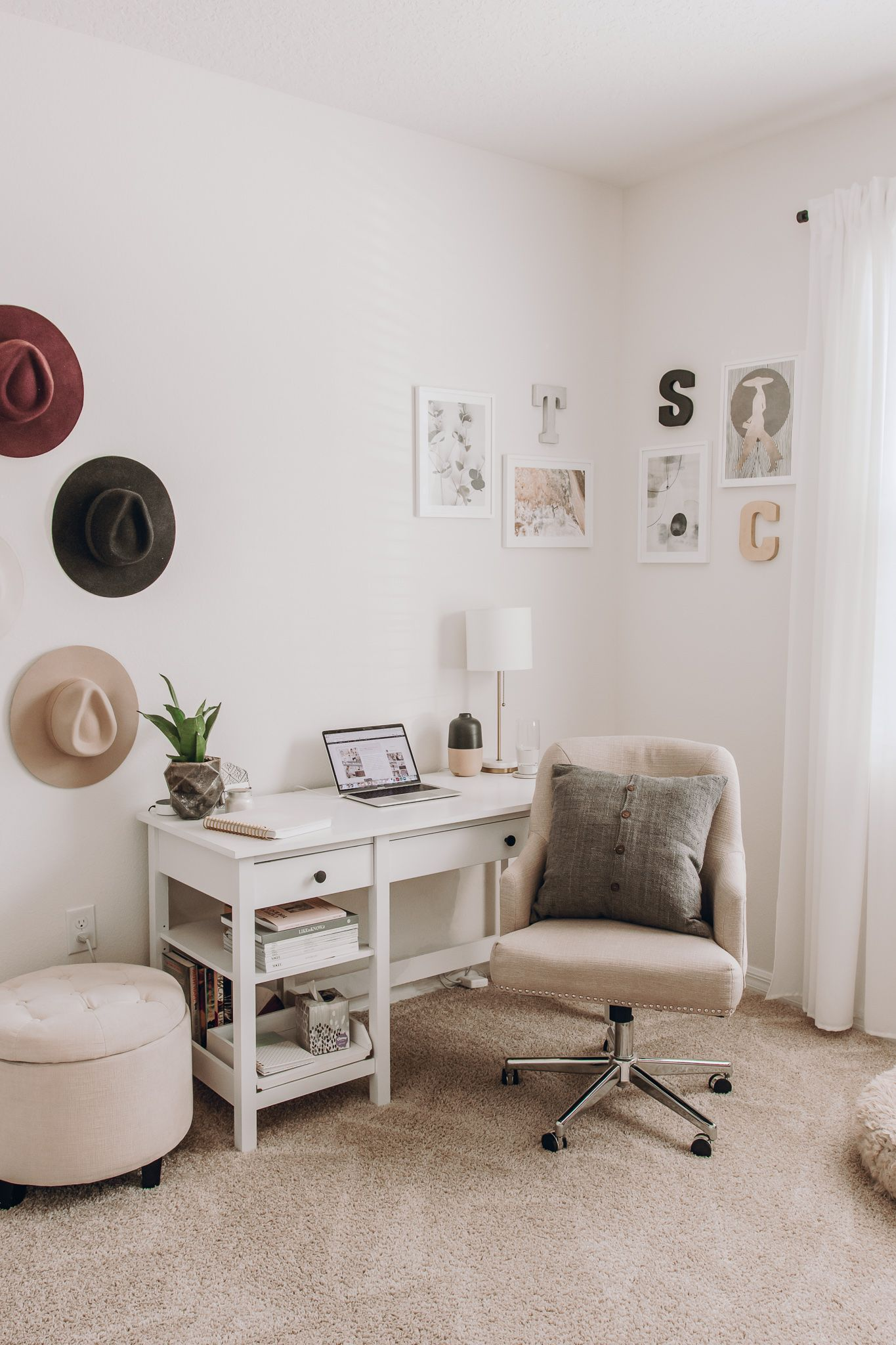 Modern Boho Chic Home Office Space Home Office Space White Desk Decor Simple Bedroom