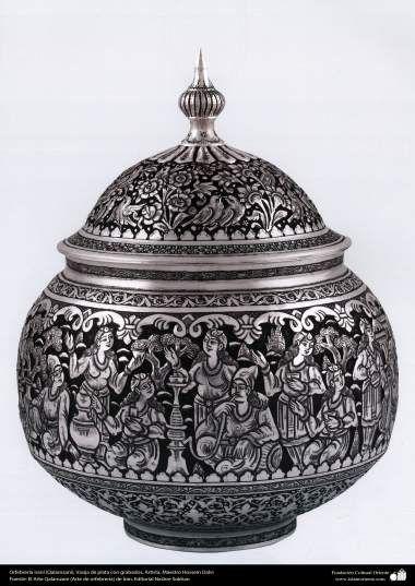 Orfebrería iraní (Qalamzani) Vasija de plata con grabados Artista: Maestro Hossein Dalvi - 156