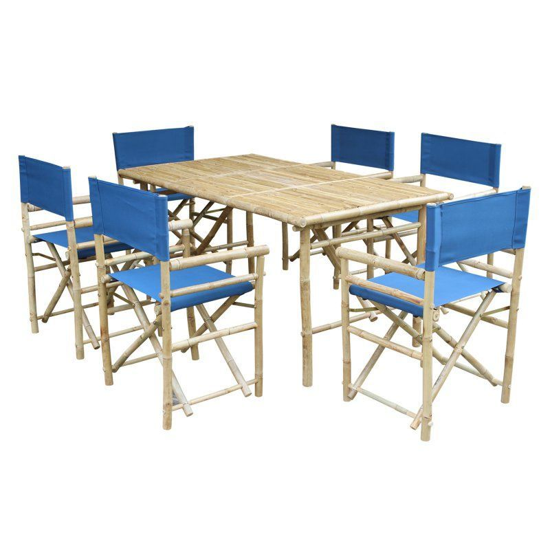 Outdoor Zew Hand Crafted 7 Piece Rectangle Bamboo Patio Dining Set Navy - SET-015-12
