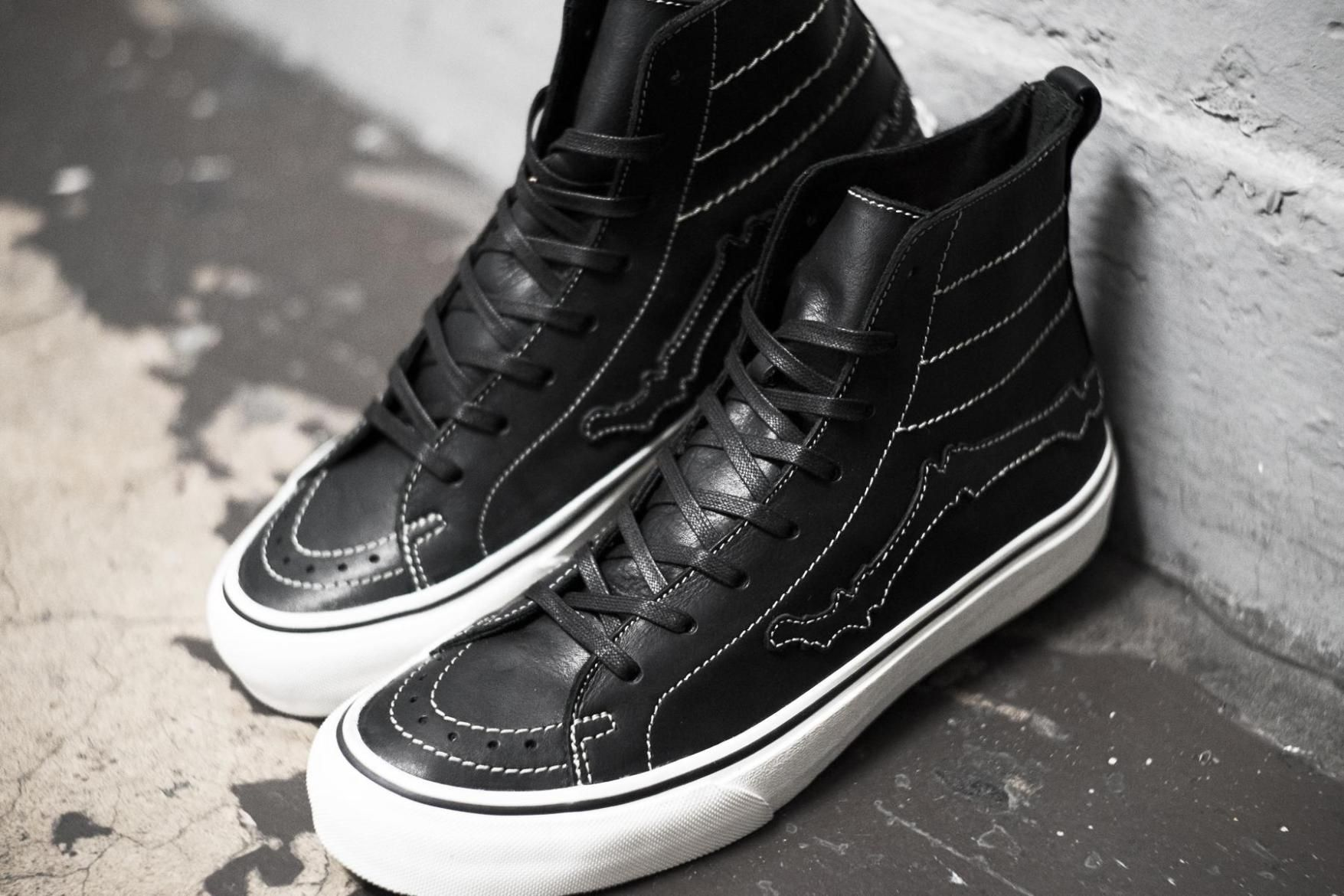 8c154ba302 Blends x Vault by Vans Sk8 Hi Decon LX Bones black white stitching white  midsole leather Jazz Stripe