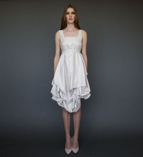 Lovely Short Wedding Dress in Ivory Casual Wedding by ElikaInLove #grecianweddingdresses
