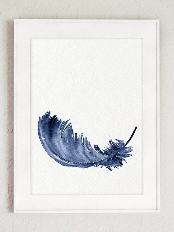 Royal Blue Feather Kunstdruck Set 2 Federn. Minimalistische Aquarell  Malerei Abstrakte Wohnzimmer Dekor. Baby
