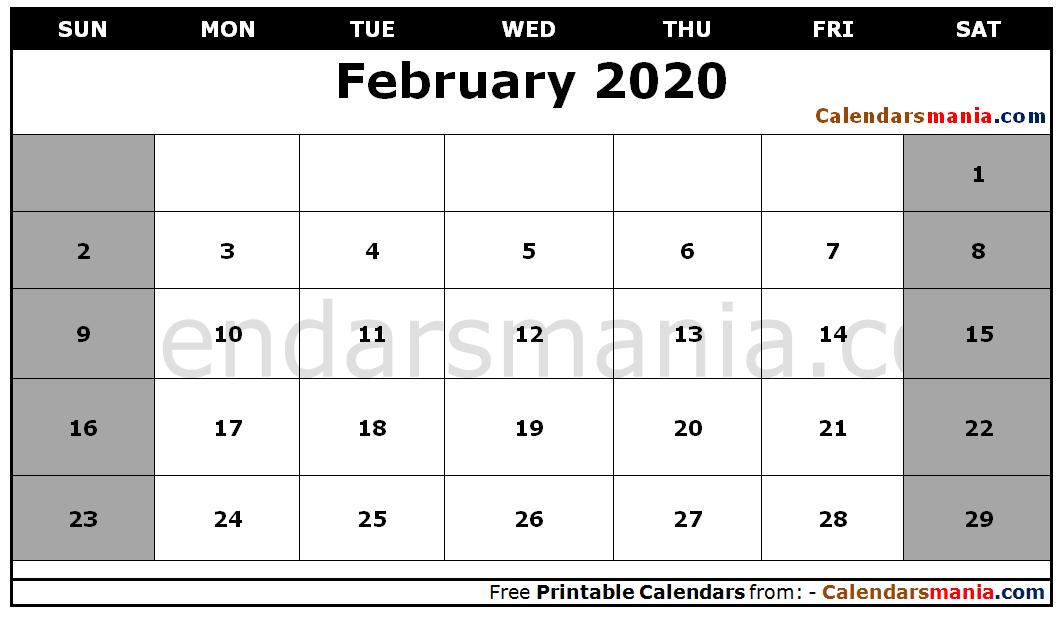 Electronic February 2020 Calendar Printable February 2020 Calendar | February 2020 Calendar