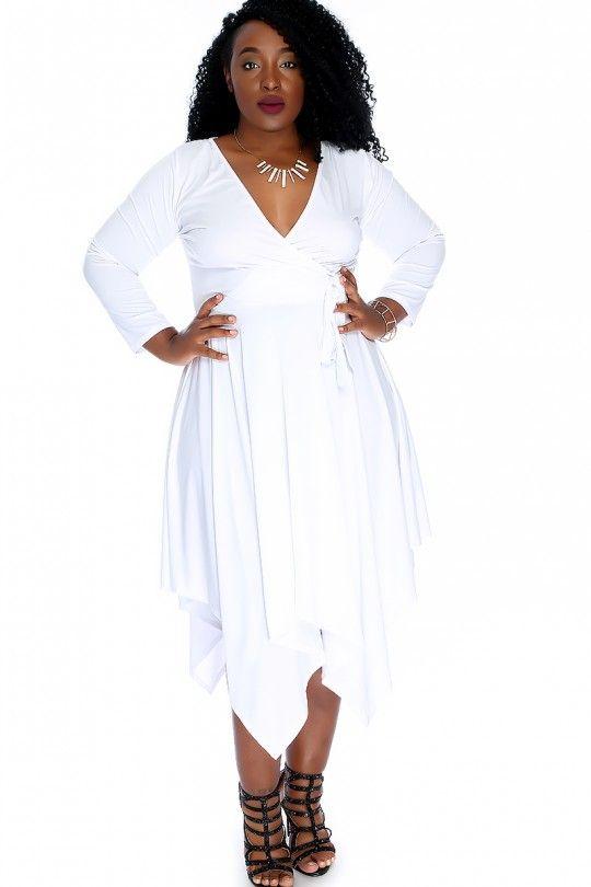 Sexy White Long Sleeve V Cut Uneven Hemline Plus Size Party Dress