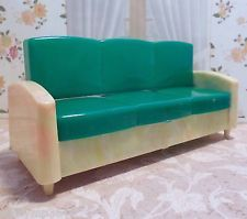 RARE Ideal SOFA BED   COUCH Vintage Renwal Tin Dollhouse Furniture Plastic 1 :16