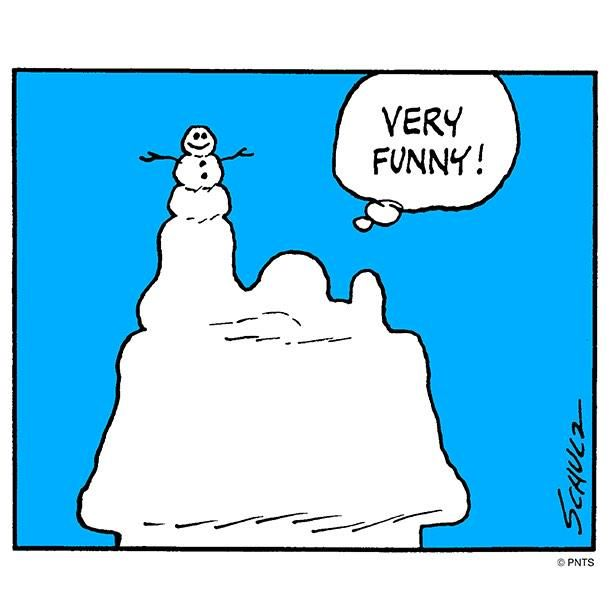 Very Funny Snoopy Lying On His Dog House Covered In Snow With A