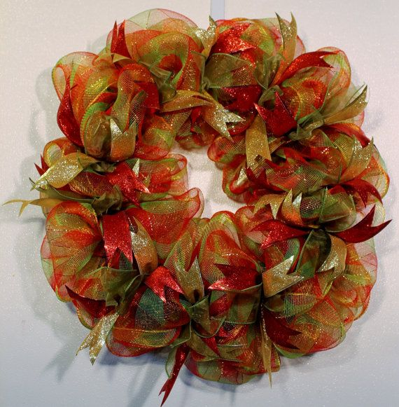 Christmas Ribbon Wreath Red Green and Gold by CountyLineCreations3