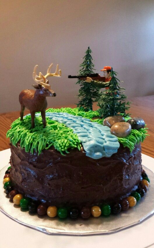 Pleasing Chocolate Hunting Cake Deer And Hunter Scene Hunting Cake Personalised Birthday Cards Veneteletsinfo