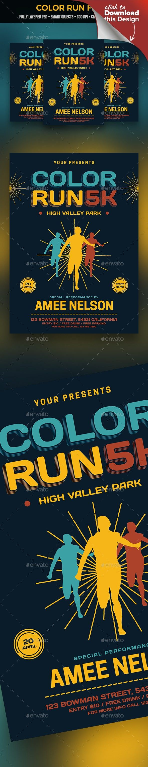color run flyer flyer template and fonts