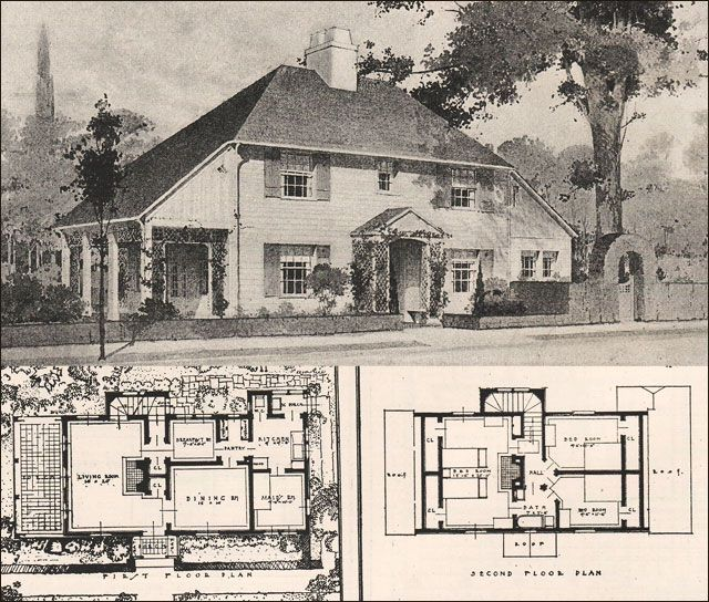 1916 Garden City Plans Design 11 English Cottage Design With Massive Central Chimney And Large Arts And Crafts Housecraft