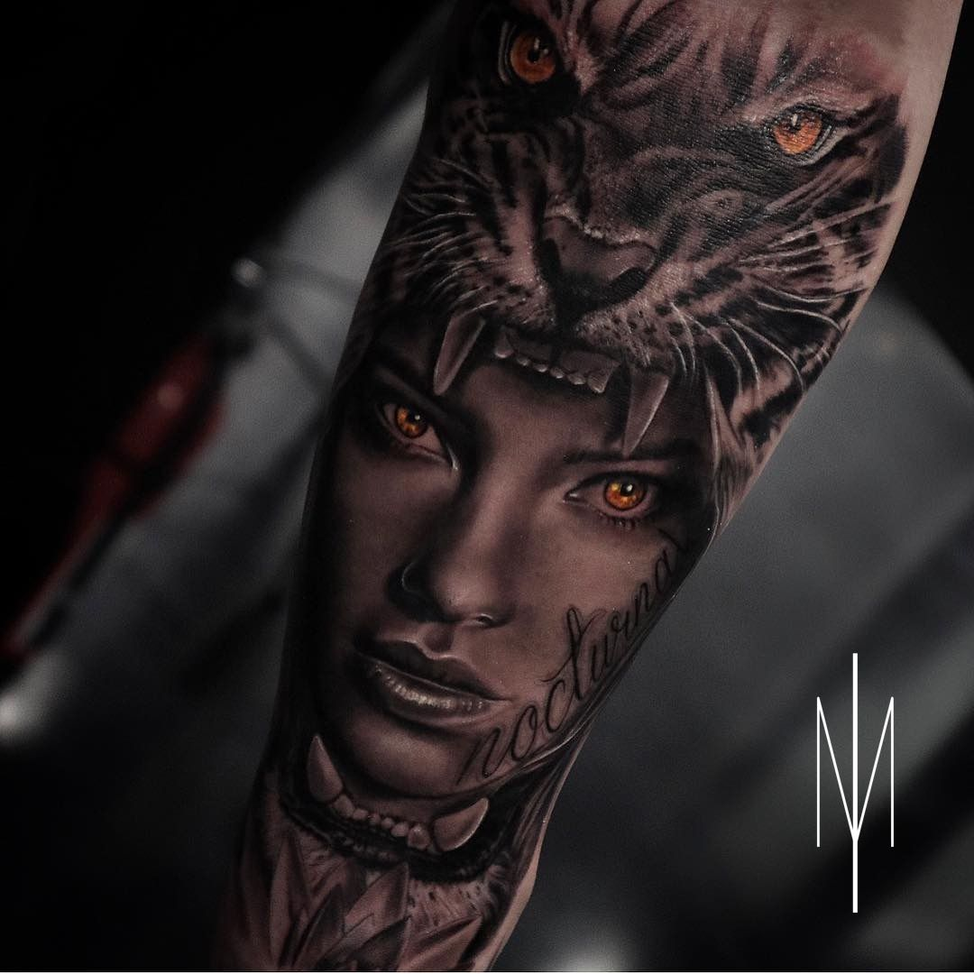 Nocturnal Tiger Face Girl Portraittattoo Realism