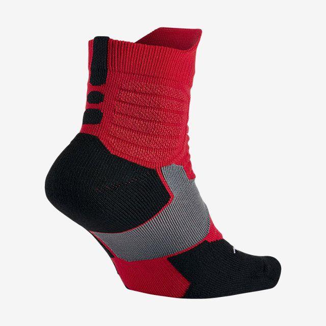 Nike Hyper Elite High Quarter Wolf Grey/University Red/Black Basketball Socks