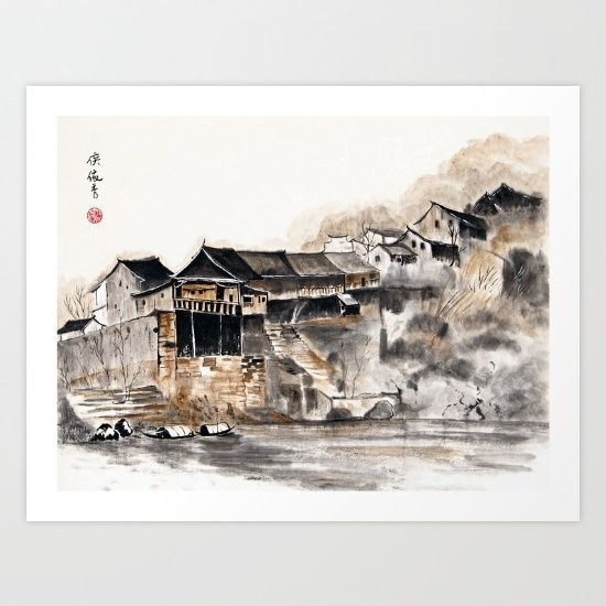 Love love love this art supporting artists pinterest artist chinese old houses art print by brushespapers sciox Gallery
