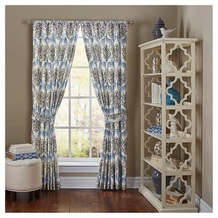 Waverly Curtain Panel Pair Blue X2f Yellow Floral Target
