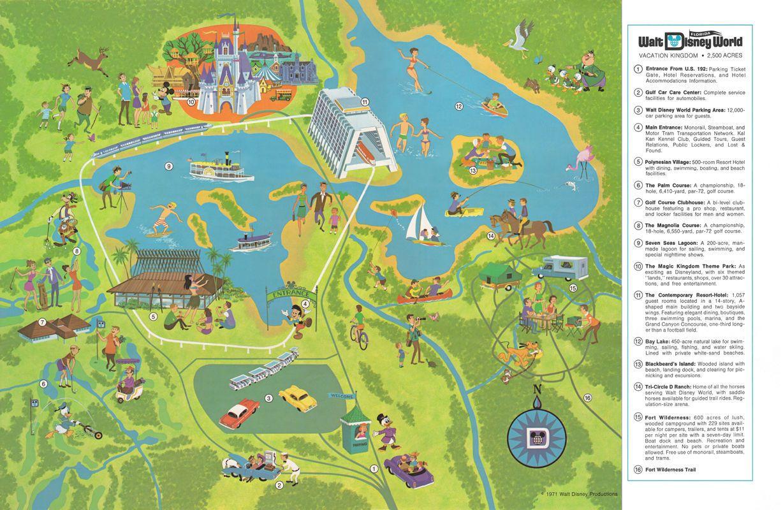Walt Disney World 1971 Walt Disney World Vacation Kingdom Map 2500 Acres Disney World Map Walt Disney Word Disney World Guide