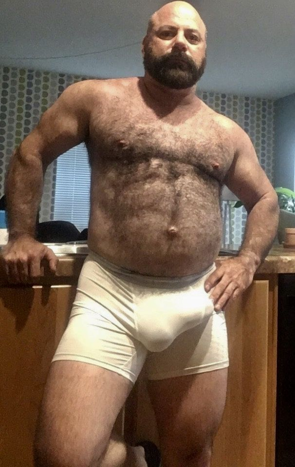 Chubby men with hairy black pubes