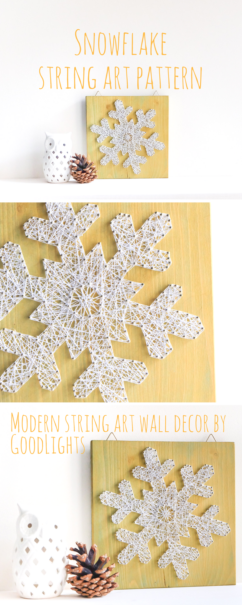 Snowflake string art pattern - perfect craft project for Holiday ...