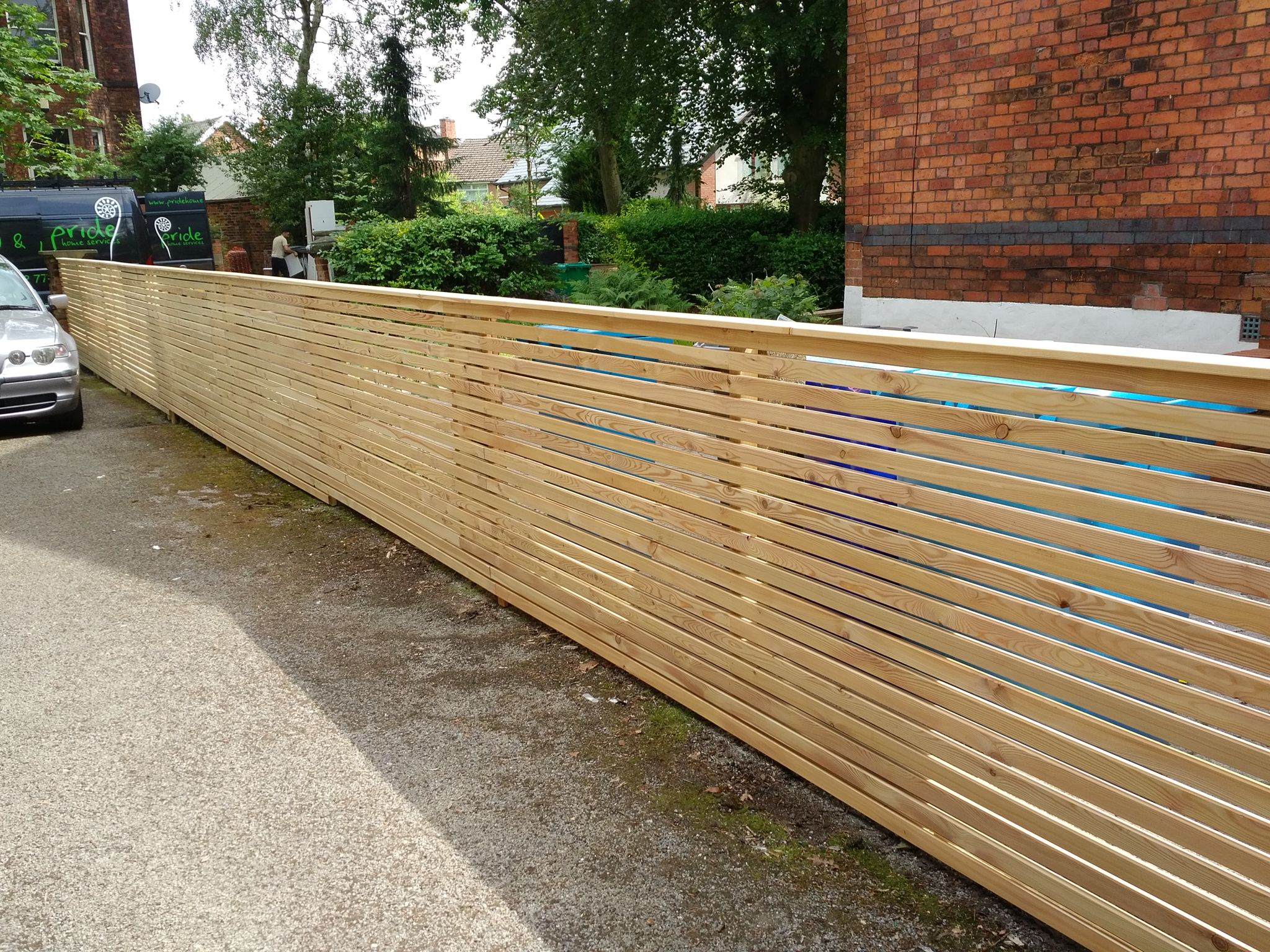 Siberian Larch Fencing Built As A Slatted Screen, Adding A