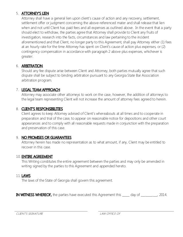 ATTORNEY RETAINER CONTRACT - PROPERTY DAMAGE CONTINGENT FEE - legal resume