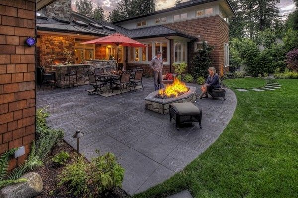 patio design ideas outdoor dining furniture fire pit stamped
