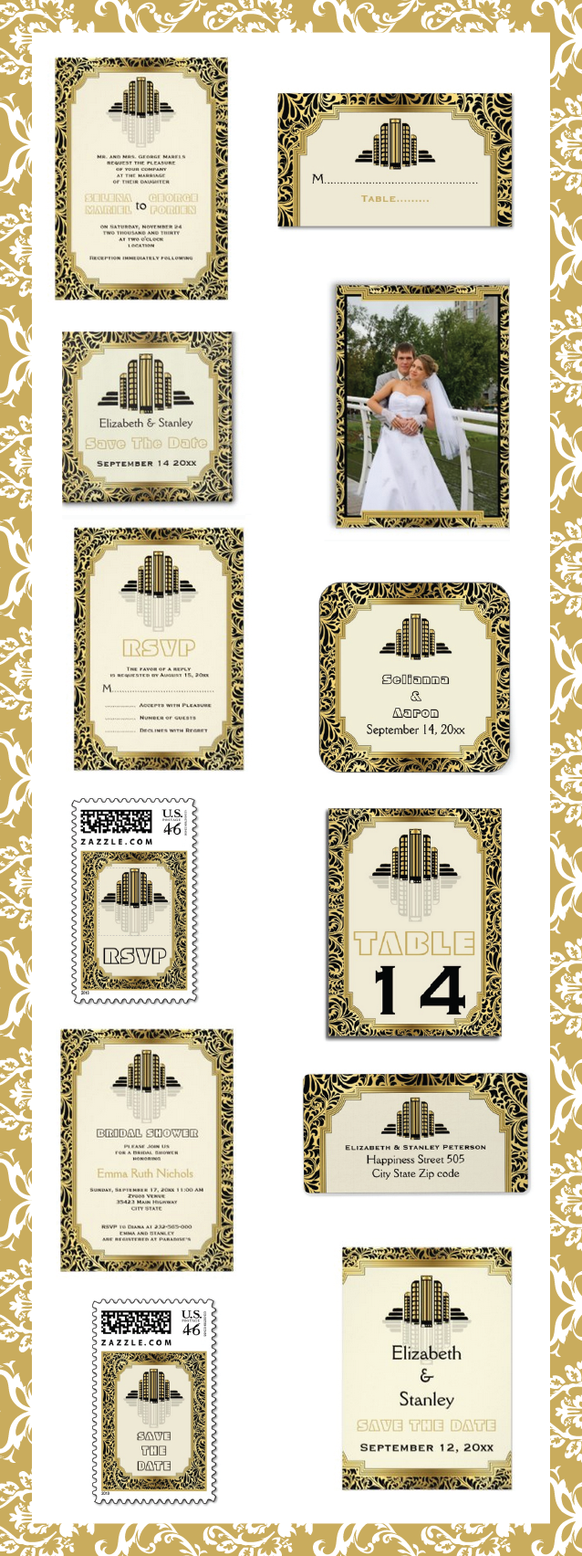 Art Deco tower building black, gold wedding invitations with damask border and matching stationery. #Artdeco, #artdecotower, #weddinginvitations, #weddingstationery. #damask, #black, #gold See more designs http://www.zazzle.com/weddings_?rf=238228936251904937=zBookmarklet