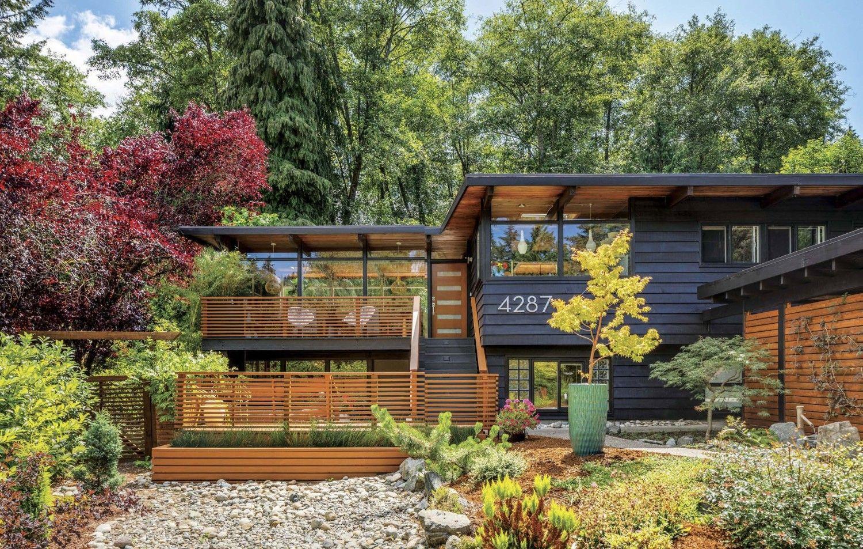 Zen Meets Midcentury House Exterior Blue Mid Century Modern
