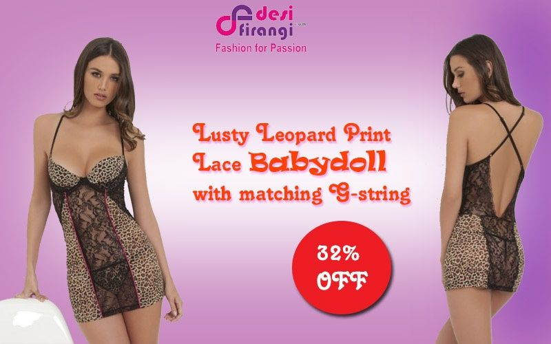 39da7bb5a Shop now on www.desifirangi.com plus-sizes babydolls-32 lusty-leopard-print- lace-babydoll-with-matching-g-string-187