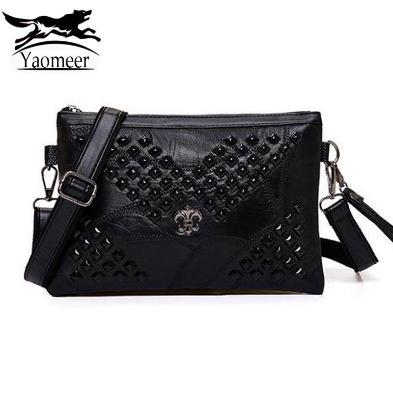 93050cf23b Luxury Brand Women Bag Designer Handbags Black Skull Rivet Shoulder  Messenger Bag Female Soft Pu Leather