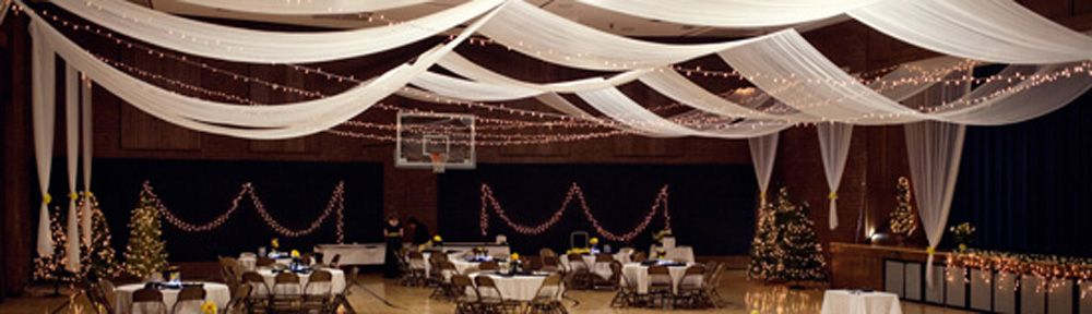 Ceiling Draping And Christmas Lights Transform A Church