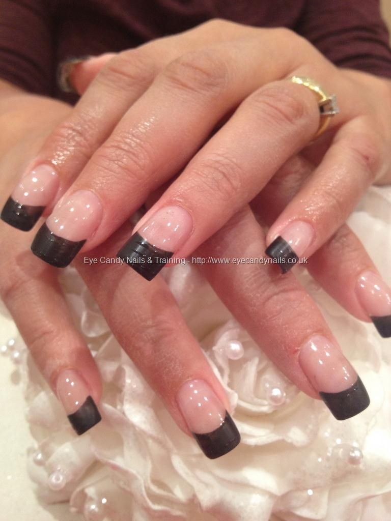 Matt black tips with shiny detail nail art on acrylic nails | Nail ...