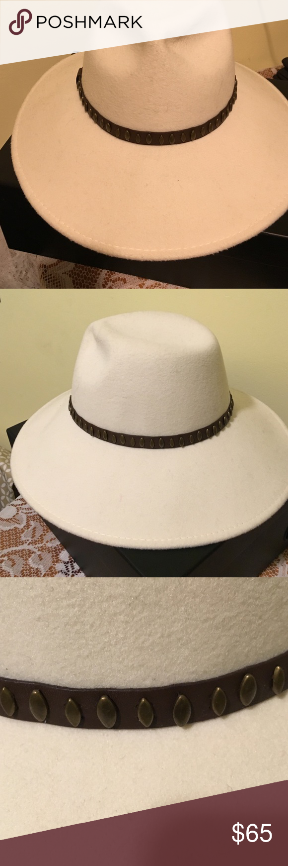 Cream brim hat This hat is beautiful going out on the town this is great for that special person that has everything and wants one more hat . Hat has a brown leather like strap around with Bronze studs see pic Accessories Hats