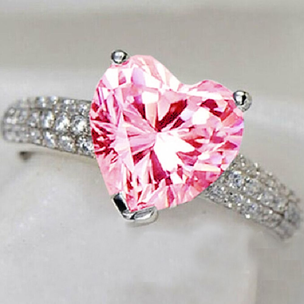 YaYI Fashion Women\'s Jewelry Ring Heart Pink Topaz CZ Diamond White ...