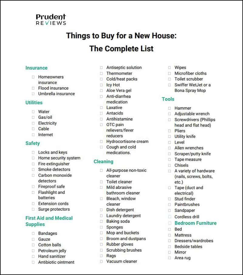 This Comprehensive Checklist That You Can Download And Print Will Help You Prioritize Everything New Home Checklist New Home Essentials First Home Essentials