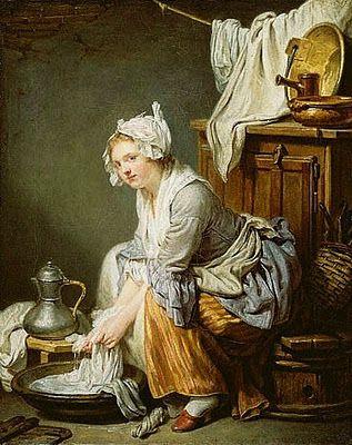 Jean-Baptiste Greuze (French Rococo Era painter, 1725-1805) The Laundress 1761