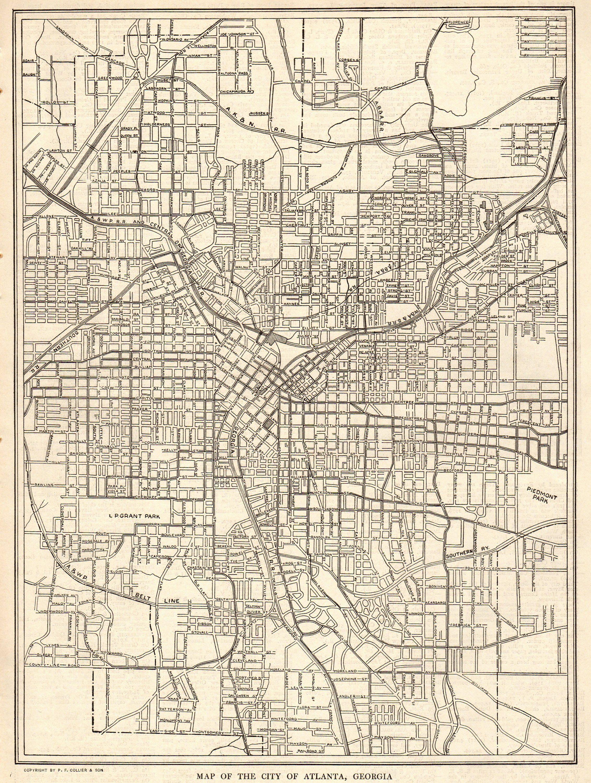 1911 Antique Atlanta Street Map City Map Of Atlanta Georgia Atlanta Map Street Map Vintage Map