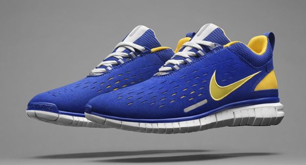 nike free blue and yellow