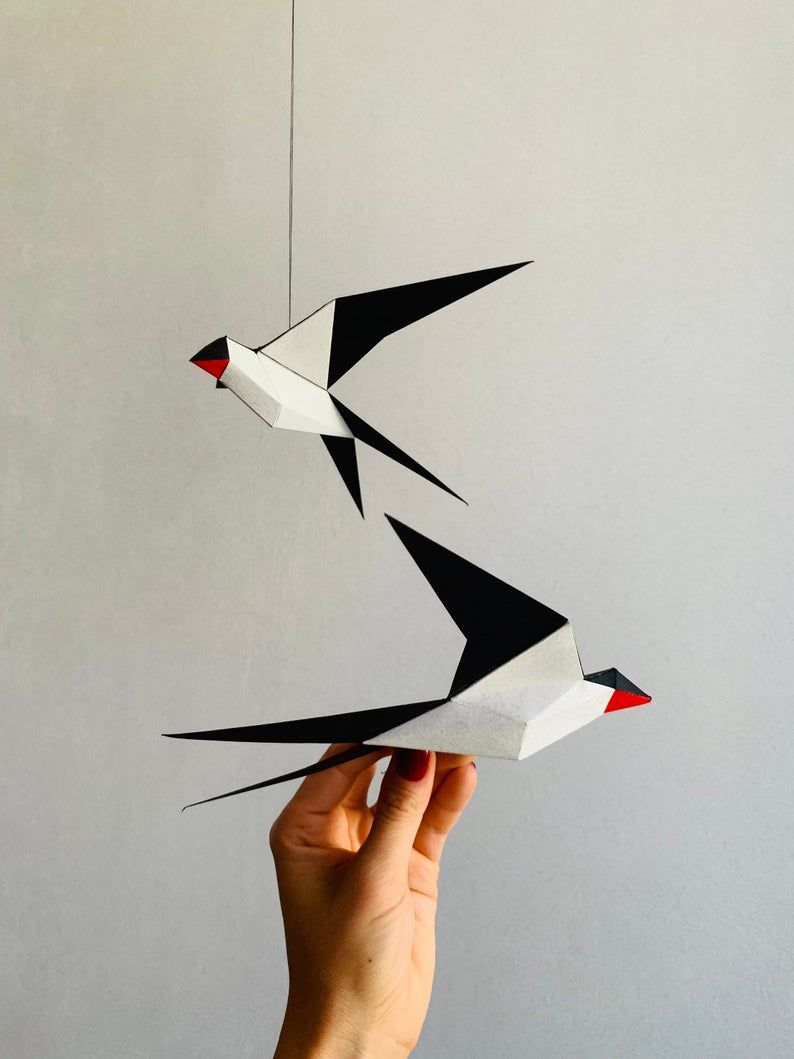 Photo of Swallow – Make your own Low poly bird on fly, Geometric bird, Paper sculpture, Papercraft bird, 3D Swallow