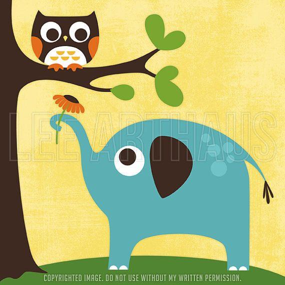 110A Elephant Nursery Print - Owl and Elephant Wall Art - Elephant ...