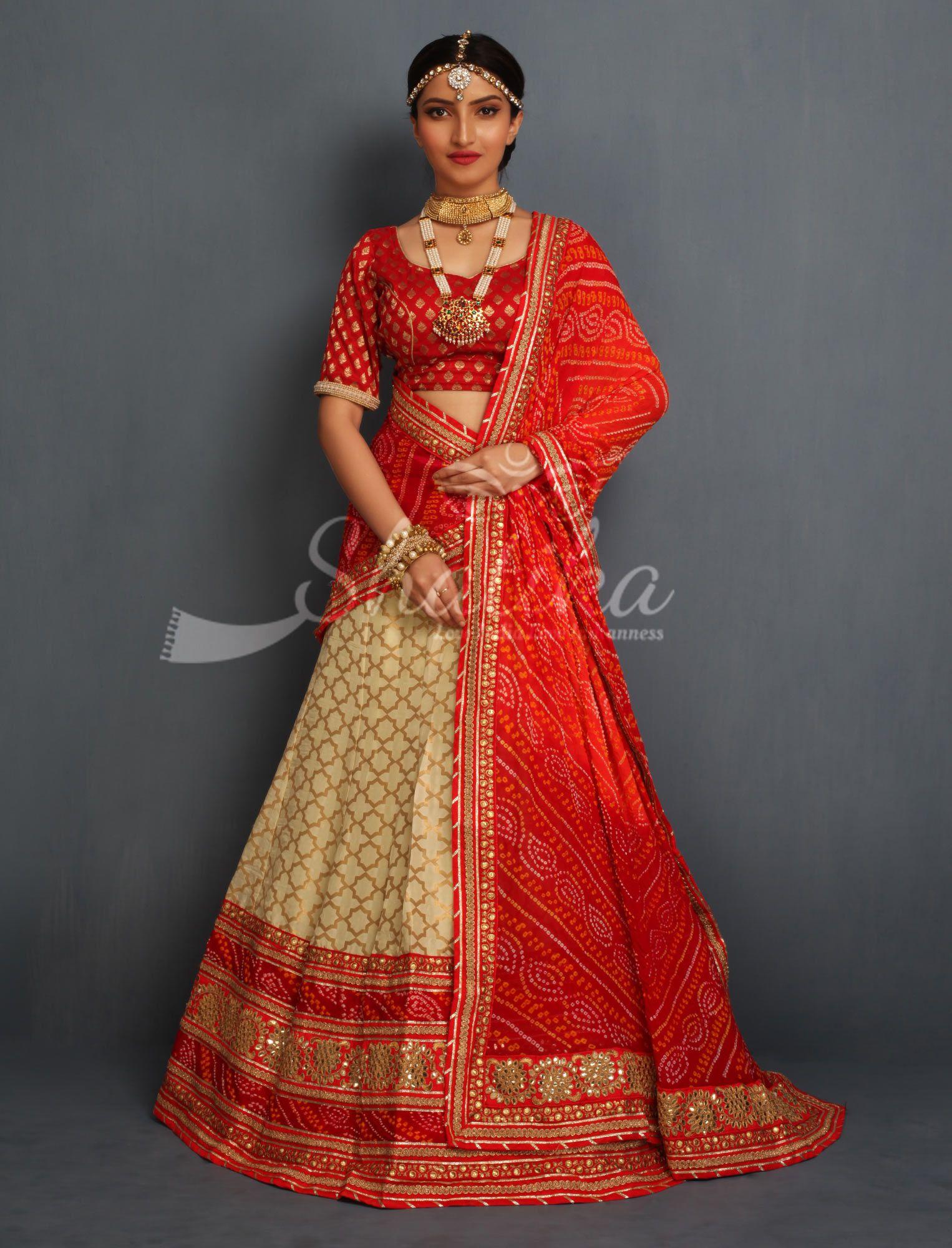 7d4151f36a Poornima Cream And Gold Heavy Contrast Border Bandhej Odhni Designer  Rajasthani Lehenga