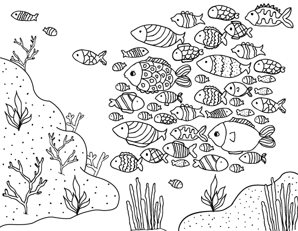 Free Printable School Of Fish Coloring Page Download It From Https Museprintables Com Download Colorin Fish Coloring Page Coloring Pages Cool Coloring Pages