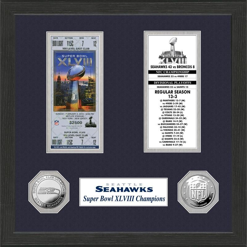 Seattle Seahawks Super Bowl Ticket Collection Frame is the ultimate ...