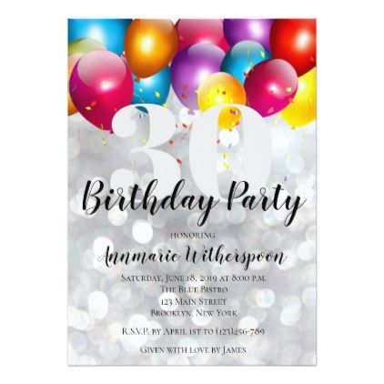 Glitter lights 30th birthday invitation balloons glitter lights 30th birthday invitation balloons giftidea gift present idea number thirty thirtieth bday birthday stopboris Gallery
