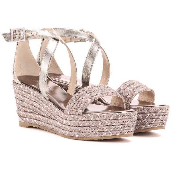 0b56b16e10e9 Jimmy Choo Portia 70 Wedge Sandals ( 500) ❤ liked on Polyvore featuring  shoes